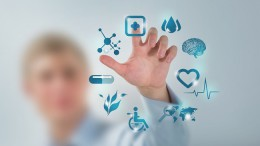 Medicine doctor hand working with modern computer interface as concept