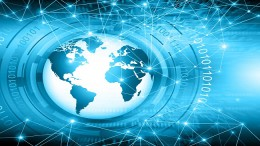 Best Internet Concept. Globe, glowing lines on technological background. Electronics, Wi-Fi, rays, symbols Internet, television, mobile and satellite communications. Technology illustration
