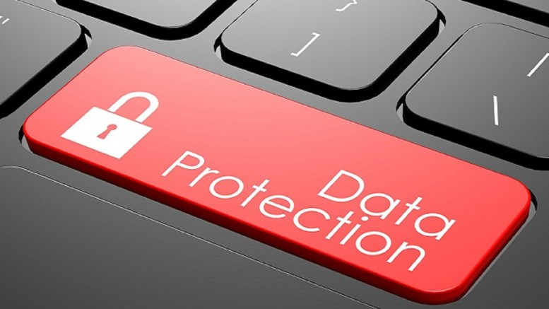 Data protection keyboard image with hi-res rendered artwork that could be used for any graphic design.