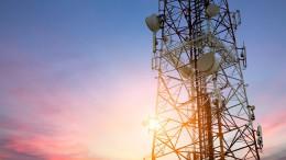 Satellite dish telecom network at sunset communication technolog
