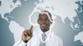 African business man working in virtual environment