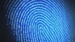 Fingerprint on a led screen. Concept of technology.