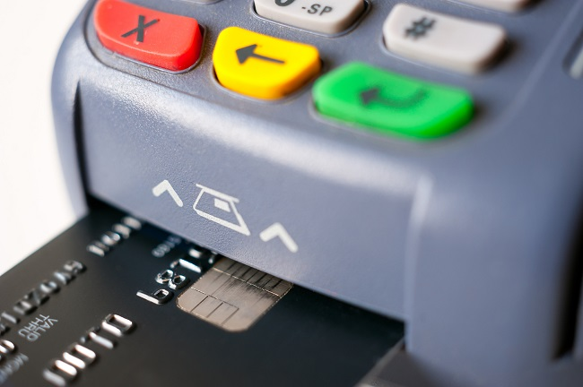 Payment using chip plastic card in POS terminal